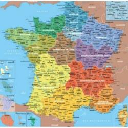 Puzzle 24 pièces - Carte France Régions un jeu PMWD