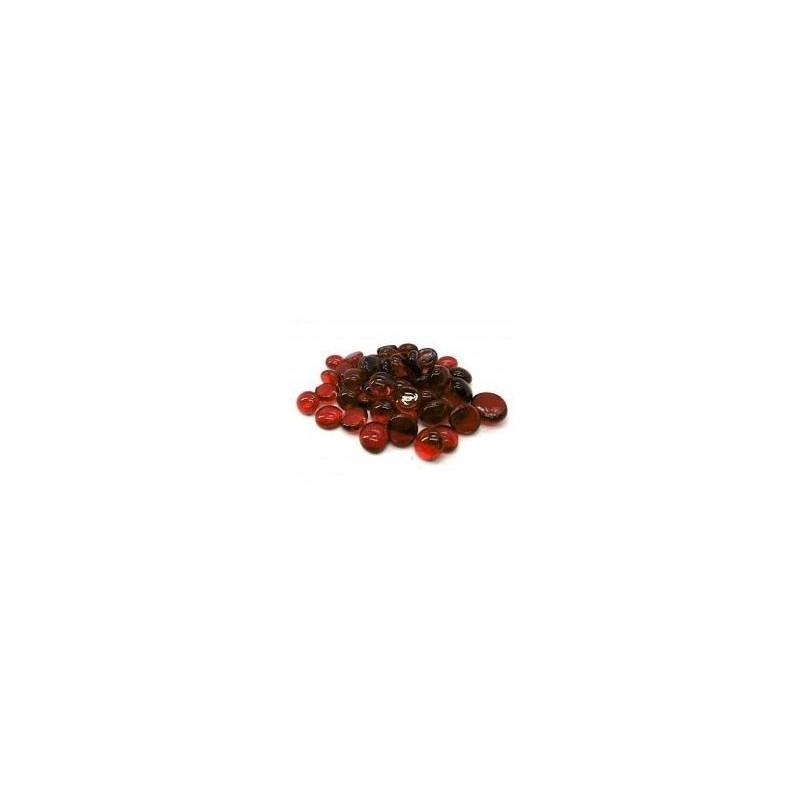 40 billes plates en tube : Crystal Red un jeu Chessex