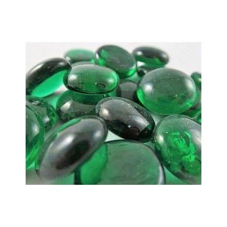 40 billes plates en tube : Crystal dark green un jeu Chessex