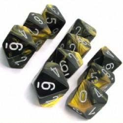 10 dés 10 *GEMINI* NOIR ET OR / BLACK AND GOLD un jeu Chessex