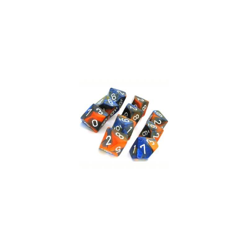10 dés 10 *GEMINI* ORANGE un jeu Chessex