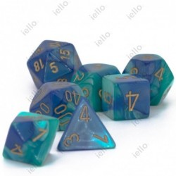 7 dés * gemini * Bleu Sarcelle & Or un jeu Chessex