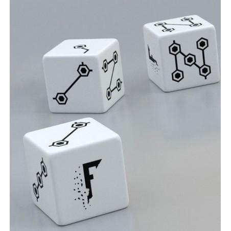3 dices Fragged (blanc) un jeu Aka Games