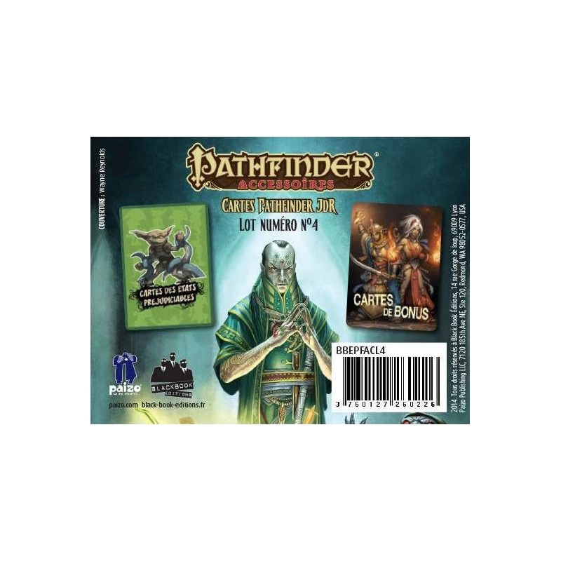 Cartes - Etats préjudiciables et Bonus un jeu Black Book