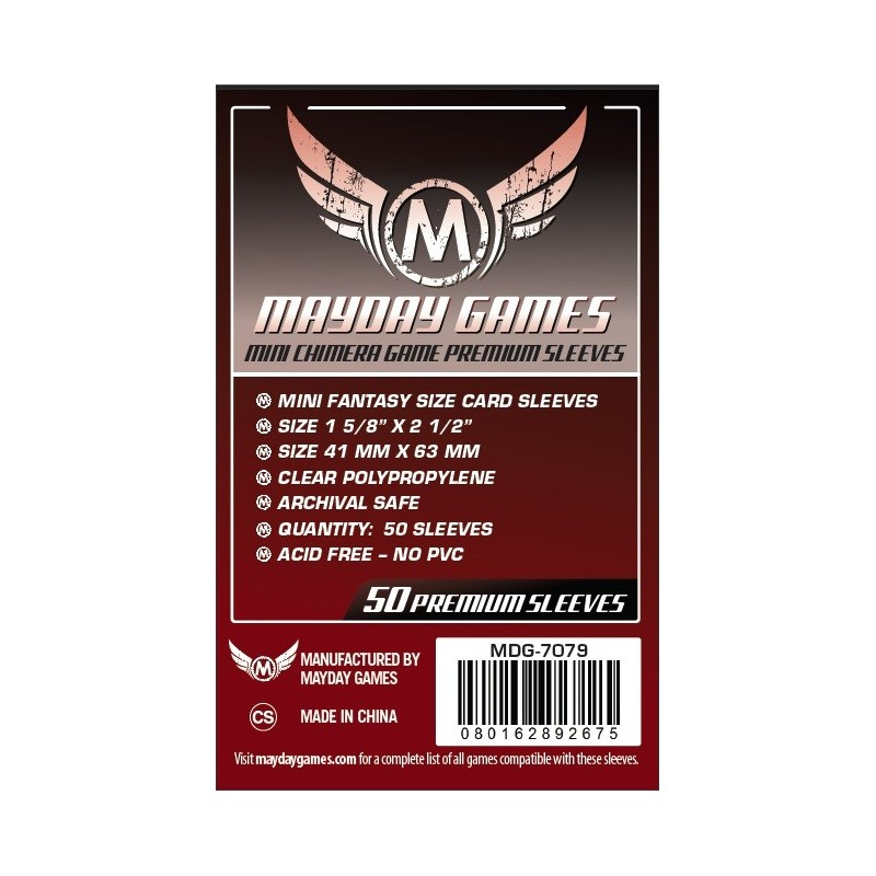 Lot de 50 Protège-Cartes Premium Mini Chimera 43x65mm un jeu Mayday Games