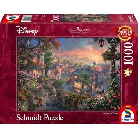 Puzzle 1000 pièces Kinkade - Belle et le clochard un jeu Schmidt
