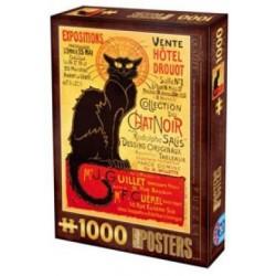 Puzzle 1000 Chat noir Vintage un jeu D-Toys