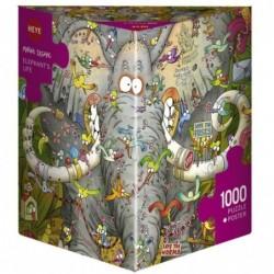 Puzzle 1000 pièces -Degano - Elephants life un jeu Heye