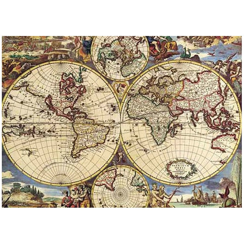 Puzzle 1000 pièces - Map of the world un jeu Ricordi