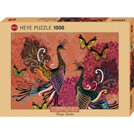 Puzzle 1000 pièces - Peacocks and butterflies un jeu Heye