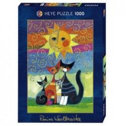 Puzzle 1000 pièces - Wachtmeister Chat Soleil un jeu Heye