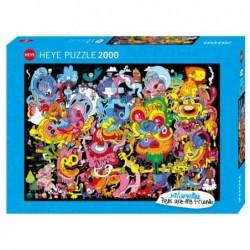 Puzzle 2000 pièces - Jon Burgerman - New psychedoodlic un jeu Heye