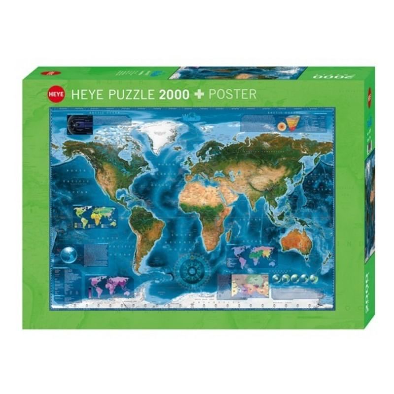 Puzzle 2000 pièces - Satellite Map un jeu Heye