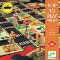 Pop to play - Puzzle 24 pièces - La ville un jeu Djeco