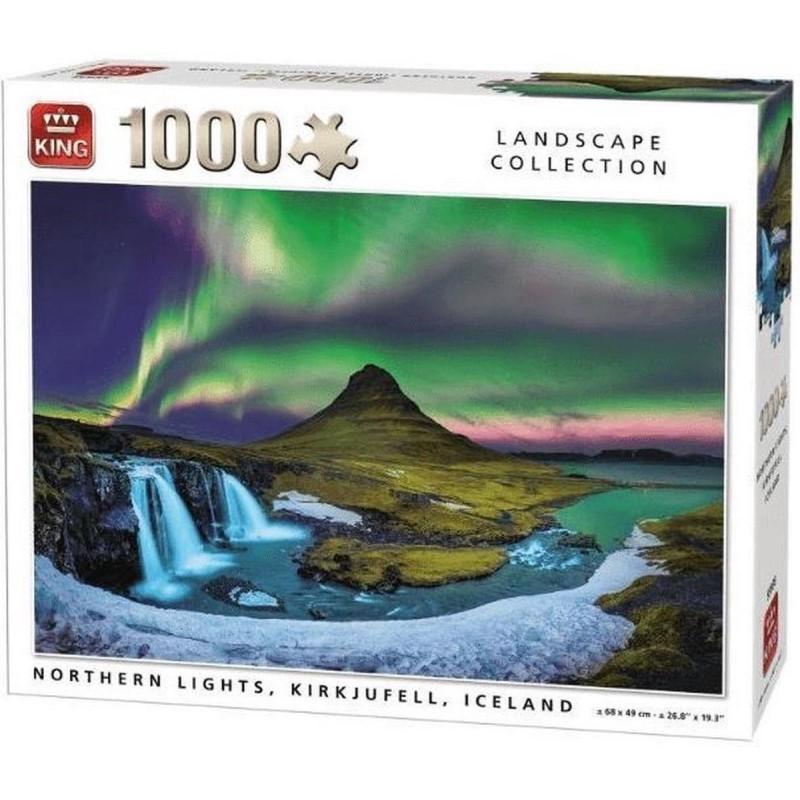 Puzzle 1000 pièces - Nortern lights kirkjuffel iceland un jeu King