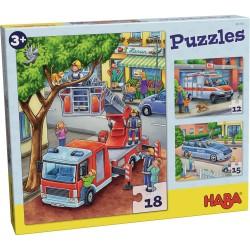 3 Puzzles - Pompiers, police et ambulance