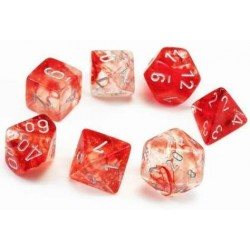 7 dés Nebula - Red silver Luminary