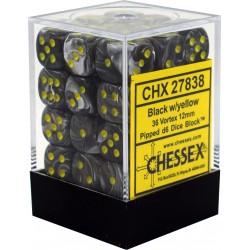 Pack 36 dés 6 noir chessex