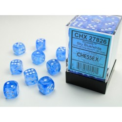 Pack 36 dés 6 bleu ciel chessex