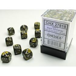 Pack 36 dés 6 Noir & Or Chessex