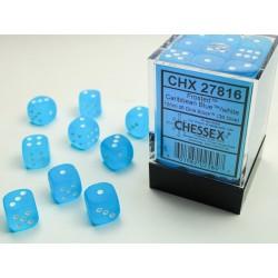 Pack 36 dés 6 bleu caraibe Chessex Jeu de rôle