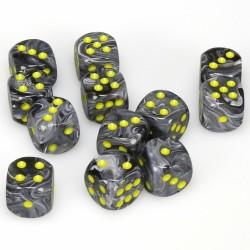 Pack 12 dés 6 Noir Vortex Black Chessex Annecy