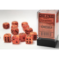 Pack 12 dés 6 Orange Chessex Annecy