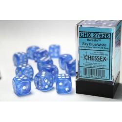 Pack 12 dés 6 Bleu Ciel Chessex Annecy