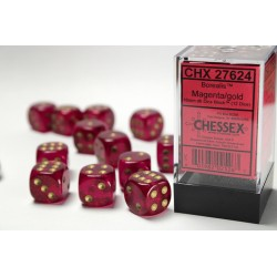 Pack 12 dés 6 Magenta Chessex Annecy