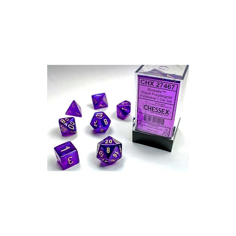 Pack 7 dés Violet Royal Chessex Annecy